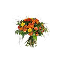 Ramo de flores naturales mediano en tonos naranjas