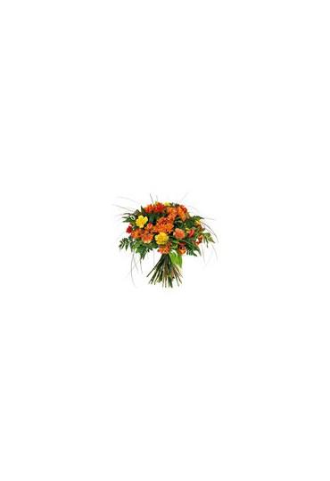 Ramo de flores frescas variado tono naranaja