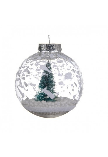 Bolas Navidad Bola De Navidad 8cm Transparente Arbol Nevado Mundo - Bolas-de-navidad-transparentes