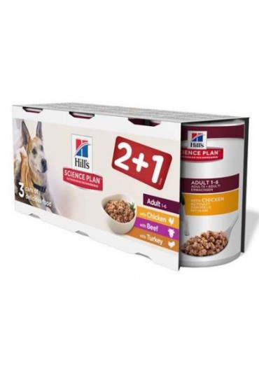Hill's Canine Adult Tripack Pollo + Pavo + Ternera (Latas) 370 gr x 3