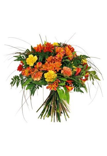 Ramo flores frescas grande variado tono naranja