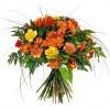 Ramo de flores naturales grande en tonos naranjas